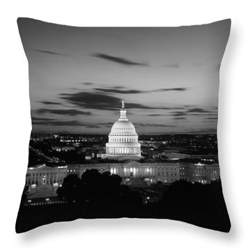 Government Building Lit Up At Night, Us Throw Pillow by Panoramic Images