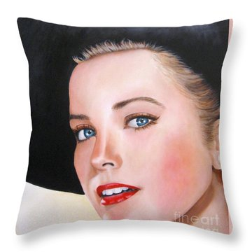 Grace Kelly In A Black Hat Throw Pillow by Venus