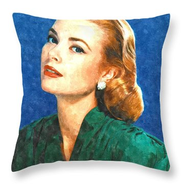 Grace Kelly Painting Throw Pillow by Gianfranco Weiss