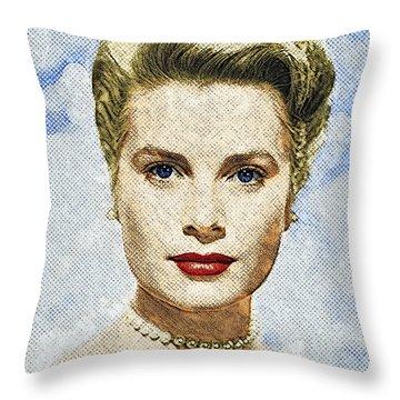 Grace Kelly Throw Pillow by Taylan Soyturk