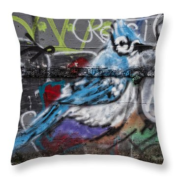 Graffiti Bluejay Throw Pillow by Carol Leigh