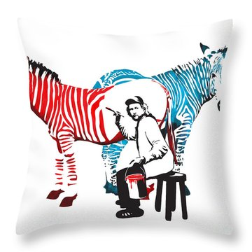 Graffiti Print Of Rembrandt Painting Stripes Zebra Painter Throw Pillow by Sassan Filsoof
