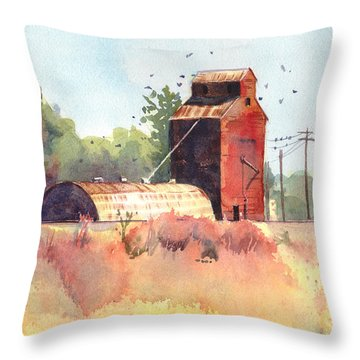 Grain Elevator Throw Pillow by Kris Parins