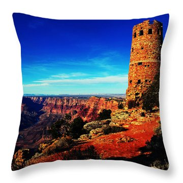 Grand Canyon National Park South Rim Mary Colter Designed Desert View Watchtower Vivid Throw Pillow by Shawn O'Brien