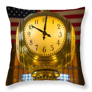Grand Central Clock Throw Pillow by Inge Johnsson