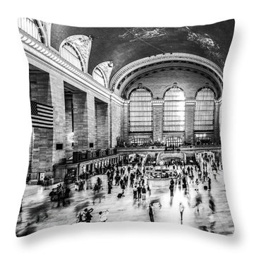 Grand Central Station -pano Bw Throw Pillow by Hannes Cmarits