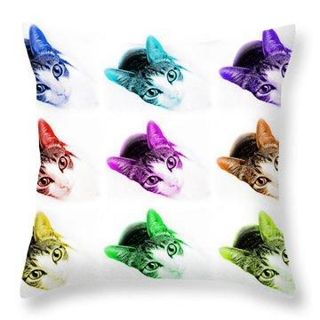 Grand Kitty Cuteness 3 Pop Art 9 Throw Pillow by Andee Design