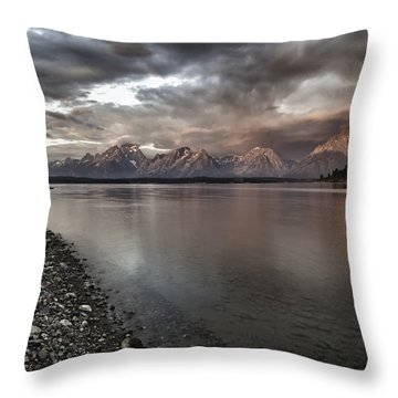 Grand Teton Mountain Range In  Grey And Pink Morning Sunlight Throw Pillow by Jo Ann Tomaselli