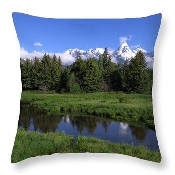 Grand Teton Reflection Throw Pillow by Brian Harig