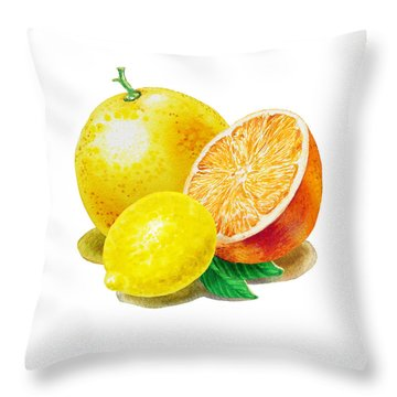 Grapefruit Lemon Orange Throw Pillow by Irina Sztukowski