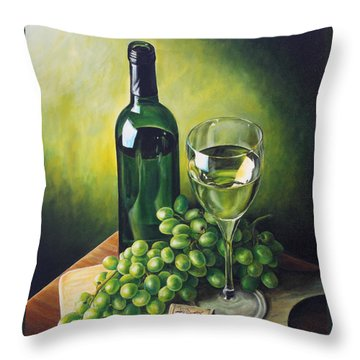 Grapes And Wine Throw Pillow by Kim Lockman