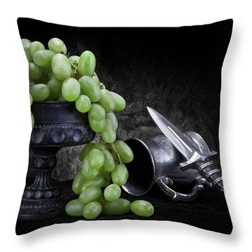 Grapes Of Wrath Still Life Throw Pillow by Tom Mc Nemar