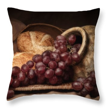 Grapes With Bread Still Life Throw Pillow by Tom Mc Nemar