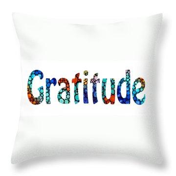 Gratitude 1 - Inspirational Art Throw Pillow by Sharon Cummings