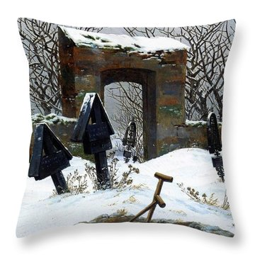 Graveyard Under Snow Throw Pillow by Philip Ralley