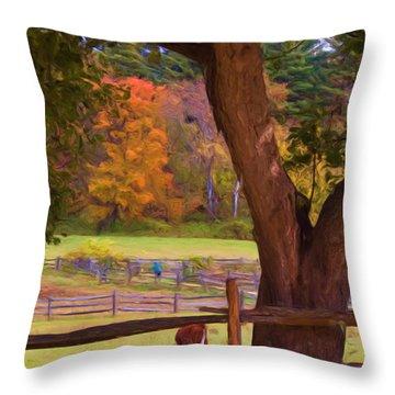 Grazing Throw Pillow by Joann Vitali