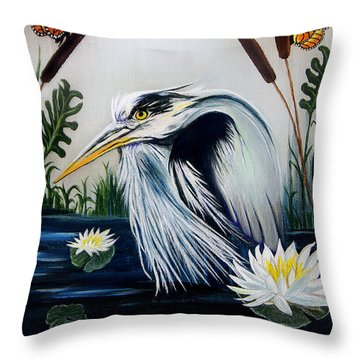 Great Blue Heron Happiness Throw Pillow by Adele Moscaritolo