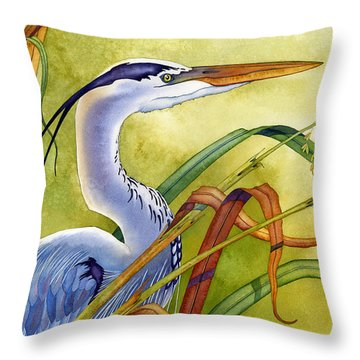 Great Blue Heron Throw Pillow by Lyse Anthony