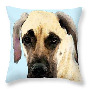 Great Dane Art - I Didn't Do It Throw Pillow by Sharon Cummings