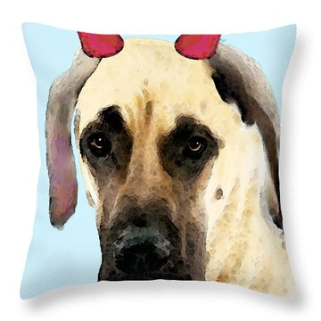 Great Dane Art - Ok Maybe I Did Throw Pillow by Sharon Cummings