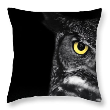 Great Horned Owl Photo Throw Pillow by Stephanie McDowell