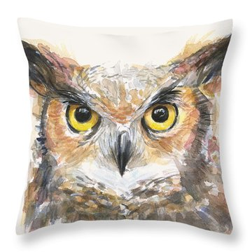 Great Horned Owl Watercolor Throw Pillow by Olga Shvartsur