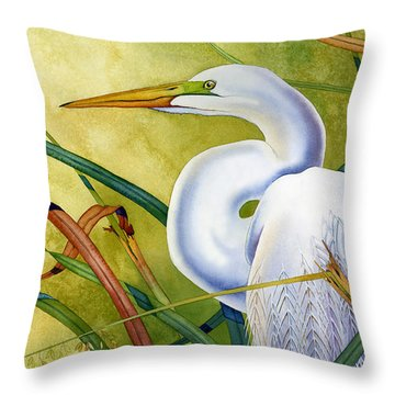 Great White Heron Throw Pillow by Lyse Anthony
