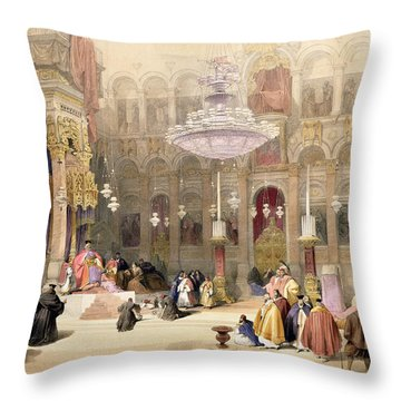 Greek Church Of The Holy Sepulchre Throw Pillow by David Roberts