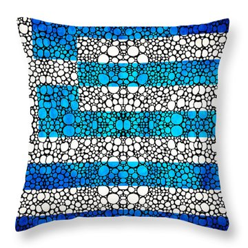 Greek Flag - Greece Stone Rock'd Art By Sharon Cummings Throw Pillow by Sharon Cummings