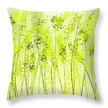 Green Abstract Art Throw Pillow by Lourry Legarde