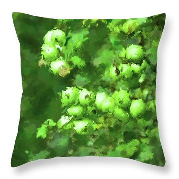 Green Apple On A Branch Throw Pillow by Toppart Sweden