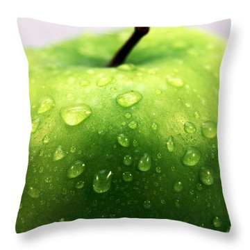 Green Apple Top Throw Pillow by John Rizzuto