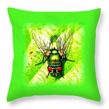Green Bottle Fly Throw Pillow by The Creative Minds Art and Photography