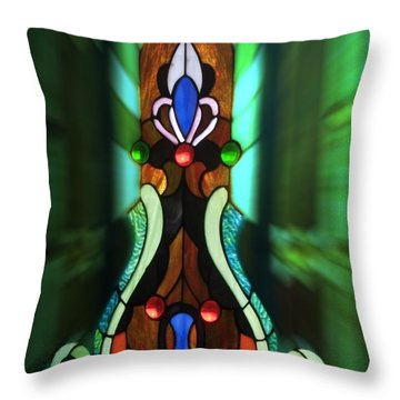 Green Brown Stained Glass Window Throw Pillow by Thomas Woolworth
