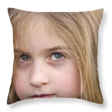 Green Eyes Throw Pillow by Sean Griffin