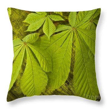 Green Leaves Series Throw Pillow by Heiko Koehrer-Wagner