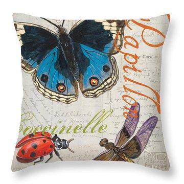Grey Postcard Butterflies 4 Throw Pillow by Debbie DeWitt