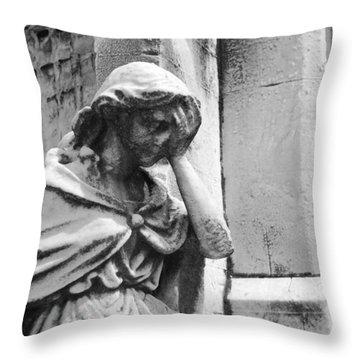 Grieving Statue Throw Pillow by Jennifer Ancker