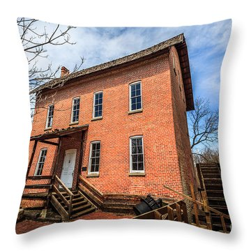 Grist Mill In Northwest Indiana Throw Pillow by Paul Velgos