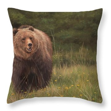 Grizzly Throw Pillow by David Stribbling