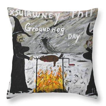 Groundhog Day Throw Pillow by Jeffrey Koss
