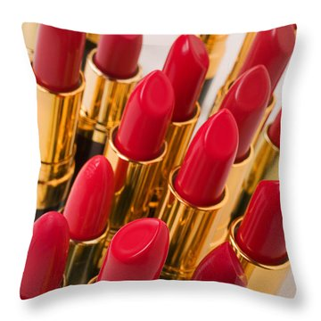 Group Of Red Lipsticks Throw Pillow by Garry Gay