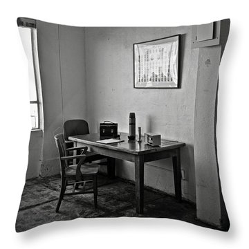 Guard Dining Area In Alcatraz Prison Throw Pillow by RicardMN Photography