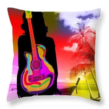 Guitar Girl At Beach Throw Pillow by Marvin Blaine