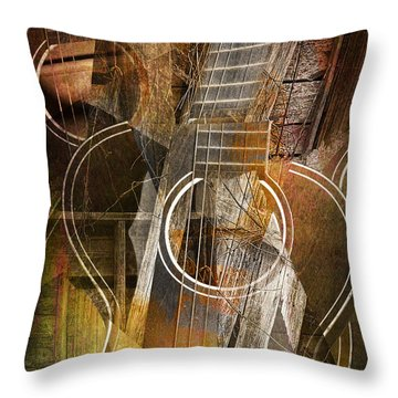 Guitar Works Throw Pillow by Randall Nyhof