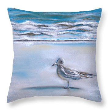 Gull On The Shore Throw Pillow by MM Anderson