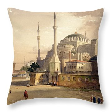 Haghia Sophia, Plate 17 Exterior View Throw Pillow by Gaspard Fossati