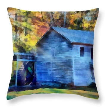 Hagood Mill With Sunrays Throw Pillow by Lynne Jenkins