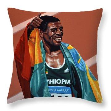 Haile Gebrselassie Throw Pillow by Paul Meijering