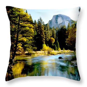 Half Dome Yosemite River Valley Throw Pillow by Bob and Nadine Johnston
